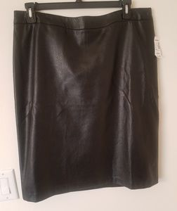 Plus Size Vegan Leather Perforated Skirt
